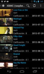 Ejemplo de listado de series